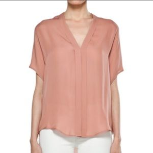 Vince Pleated Silk V-Neck Blouse in Copper Penny